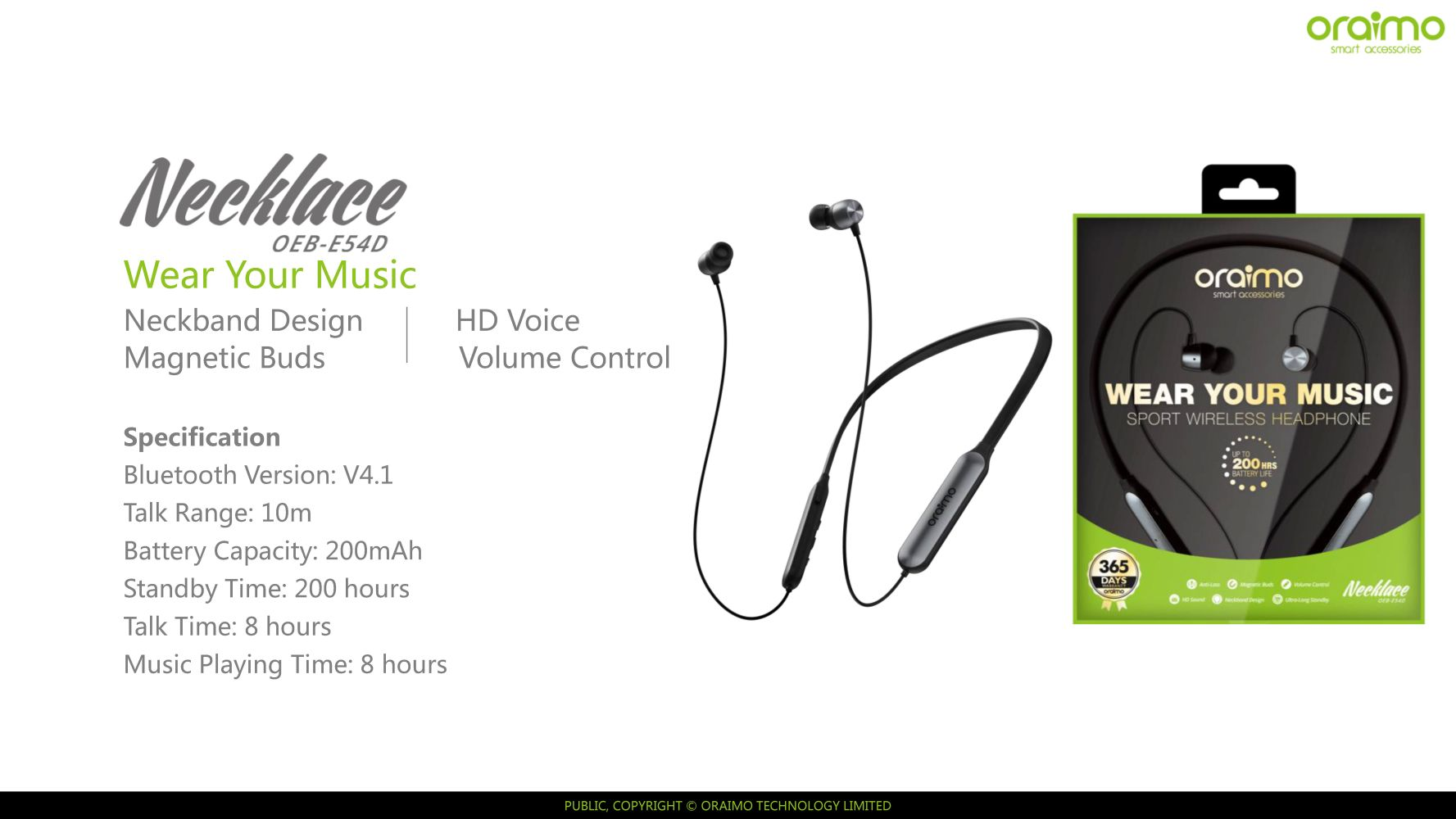0fd948304e9 You're viewing: oraimo – Necklace – Wireless Sports headphone necklace  design with magnetic buds £ 80.00