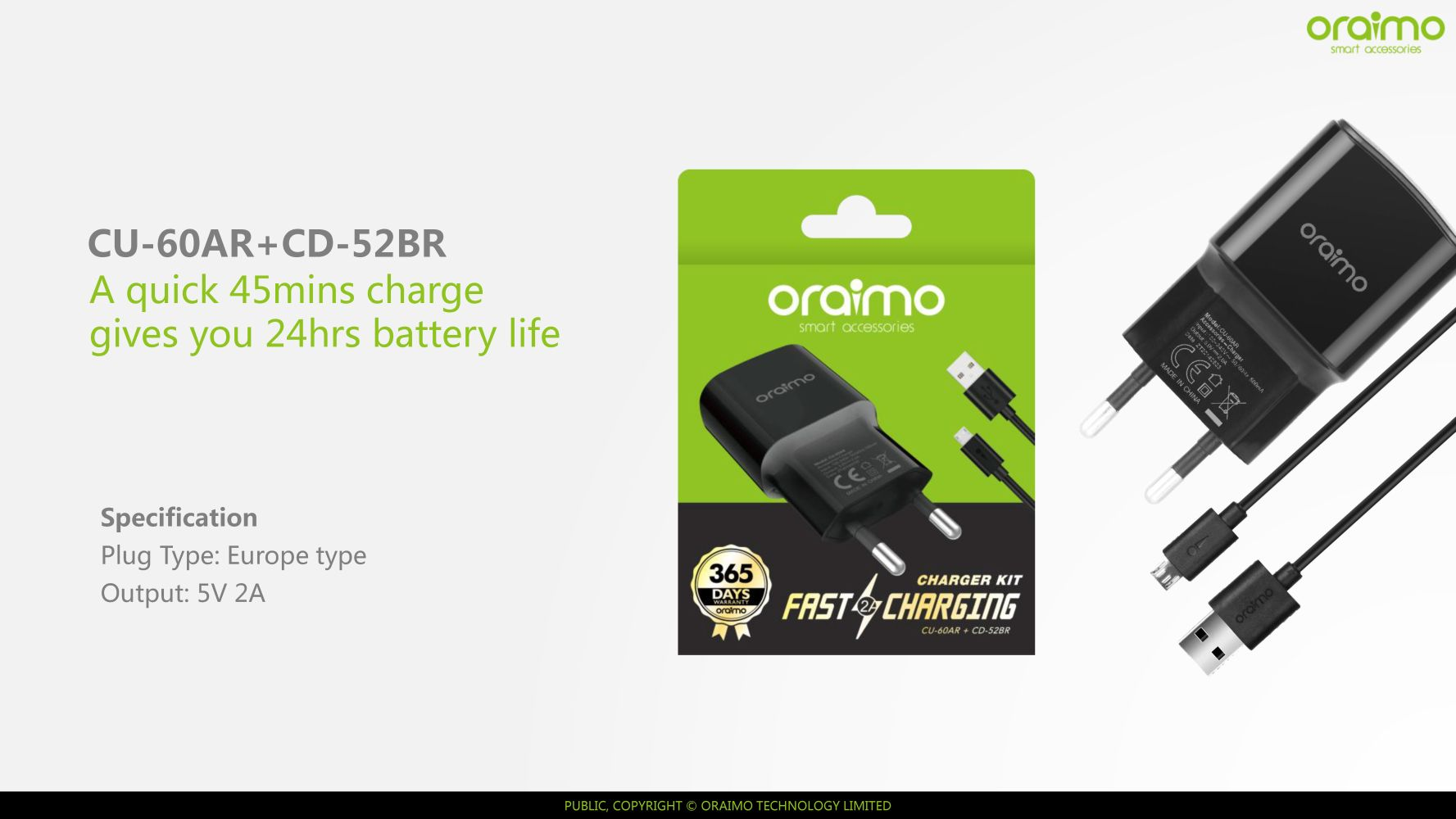Image result for Oraimo CU-60AR Charger KIT 2A Fast Charging With Micro Cable - Black