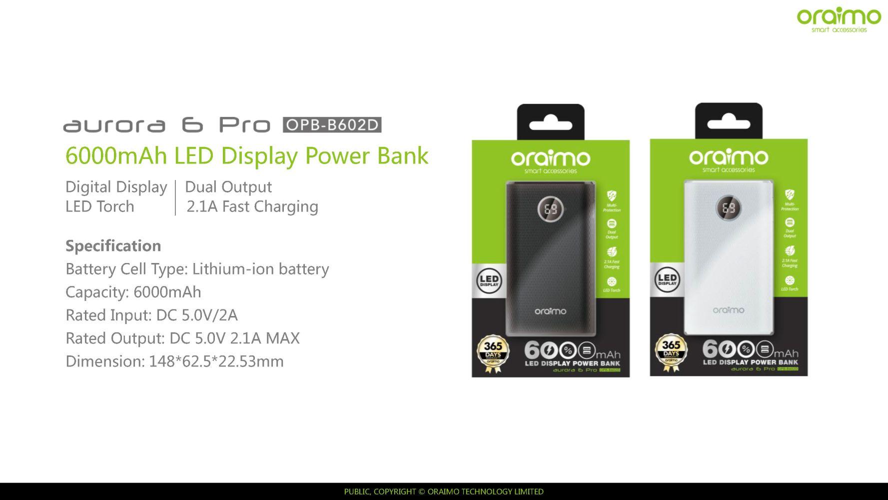 """Résultat de recherche d'images pour """"oraimo-6000mah-power-bank"""""""