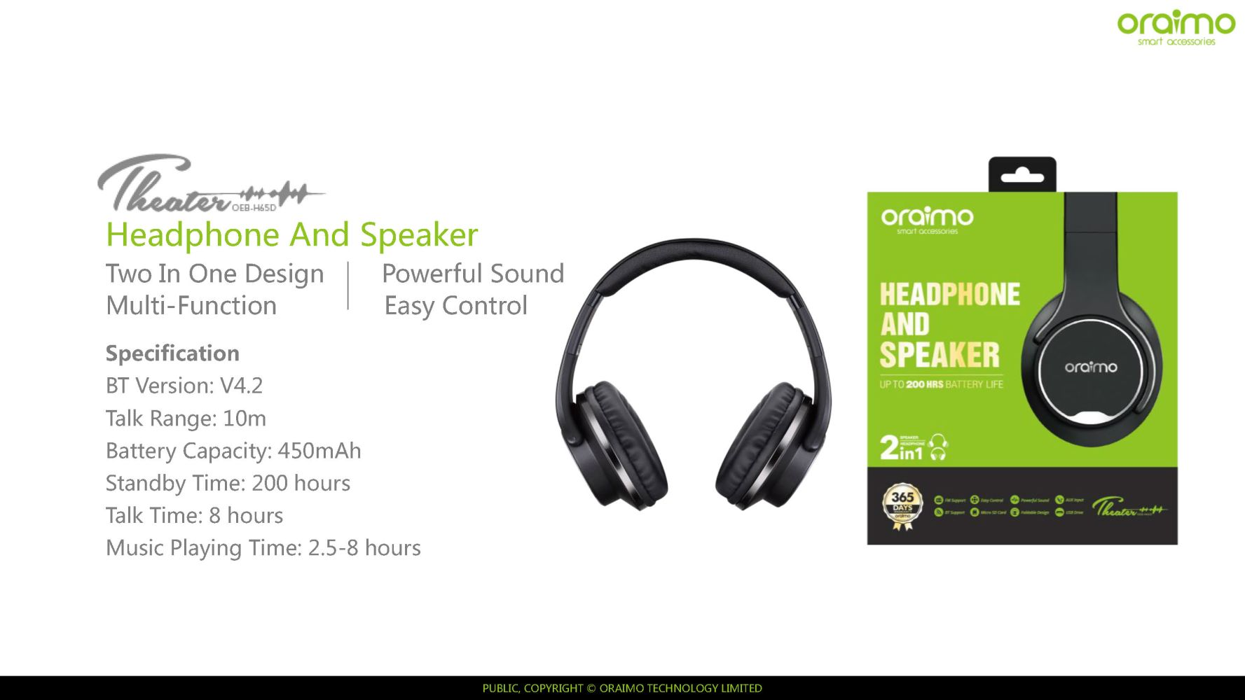 17676717a38 oraimo – Feather – Wireless headset stereo 6 hours music playing ...