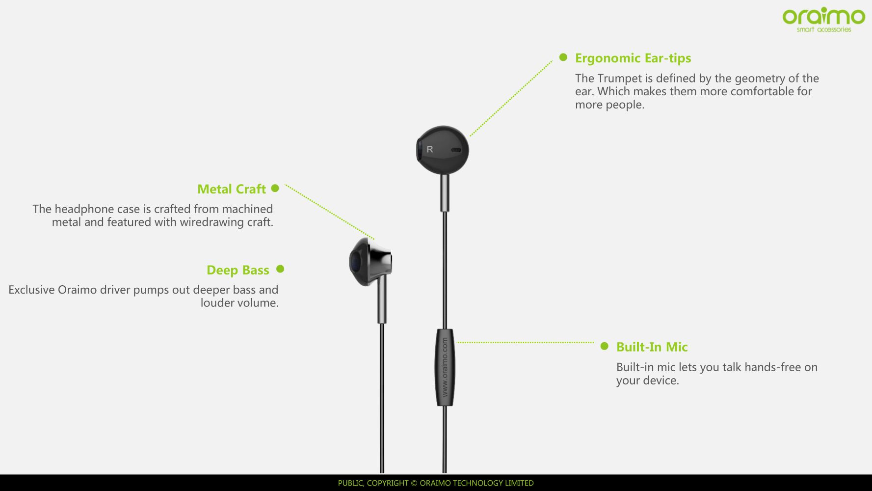Oraimo Trumpet Earphone Half In Ear 12m Wire With Mic Deep Microphone Charger Wiring Diagram Base Metal Shape